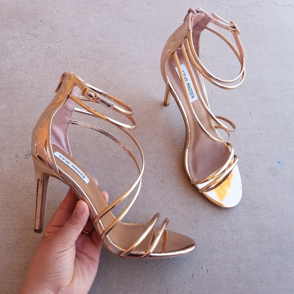 faccde49808 Steve Madden FICO Rose Gold Metallic Strappy Heels